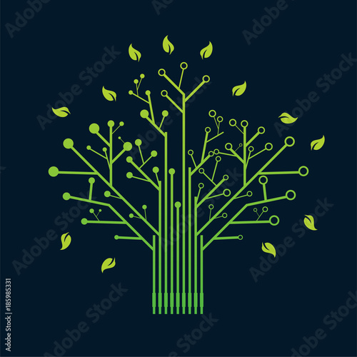Electronic Green Nerve Neuron Tree Circuit Board Design vector ...