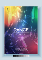 Abstract Dance Party Night Poster, Flyer Template - Vector Illustration.