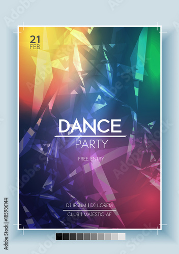 abstract dance party night poster flyer template vector