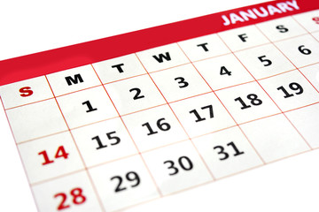 Calender dates of month January