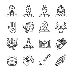 India icon set. Included the icons as Indian, Hindi, Ganesha, henna, cobra, cow and more.