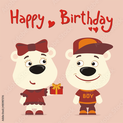 Happy Birthday Greeting Card Funny Polar Bear Girl Gives Gift To Boy