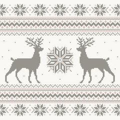Beautiful vector Christmas knitted sweater nordic ornament design with pixel deer