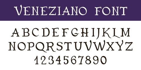 "Hand written font calligraphy. Vintage decorative Ink pen font ""VENEZIANO"". Hand drawn letters and numbers"