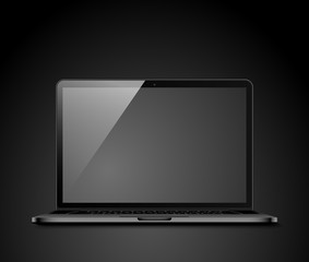 Realistic laptop on a dark background