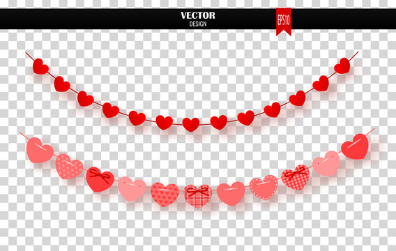 Garland of red hearts on transparent background. Vector illustration.