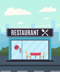 Restaurant on the background of the city. Restaurant facade. Vector illustration in a flat style