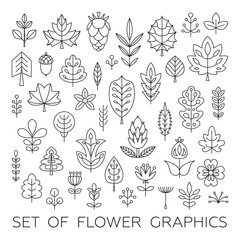 Set of Geometrical leaves, trees and flowers. Stock vector template, easy to use.