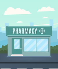 Pharmacy on the background of the city. Pharmacy facade. Vector illustration in a flat style
