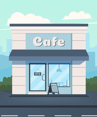 Cafe in the background of the city. Cafe facade. Vector illustration in a flat style