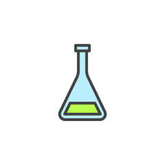 Medical test tube filled outline icon, line vector sign, linear colorful pictogram isolated on white. Conical flask symbol, logo illustration. Pixel perfect vector graphics