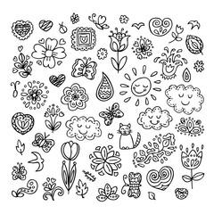 Spring doodles set. Hand draw flowers, sun, clouds, butterflies.