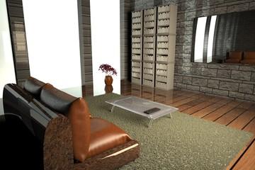 Lobby with tv and big window
