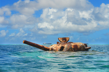 The submerged Sherman tank  of World War II, fought on the island of Saipan