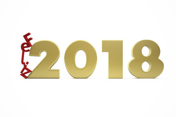 New Year's Happy 2018 in Spanish - Golden Figures and Red Letters Collapsing - 3D Render Illustration Isolated on White Background