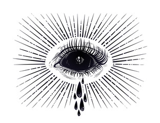Black empty evil eye crying watery tears.