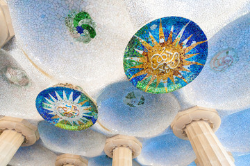 Colonnaded pathway in the Park guell, Barcelona, Spain