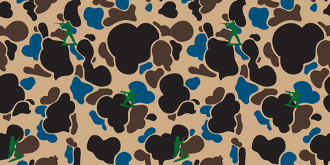 Camouflage military soldier Seamless Pattern Duck Hunter vector isolated wallpaper background