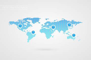 Vector World Map infographic symbol. Dotted icon with map pointers. International global illustration sign. Template elements for business, marketing project, web design, presentation