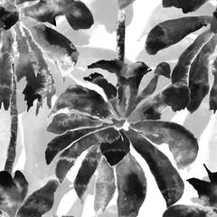 Palm Pattern. Exotic Watercolor Seamless Pattern