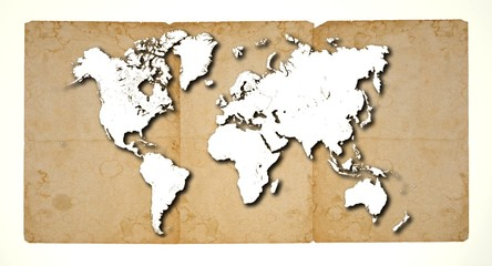 White blank world map on three damaged and stained papers. Elements of this image furnished by NASA.