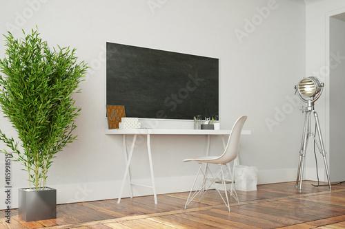 Schreibtisch Mit Tafel An Wand Im Home Office Stock Photo And