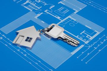 Haus Schlüssel auf Grundriss für Eigenheim