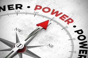 Pfeil zeigt auf das Wort Power / Macht