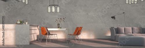 Wohnkuche Mit Sofa Und Esstisch Neben Bar Stockfotos Und