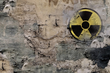 Sign of nuclear danger on a wall