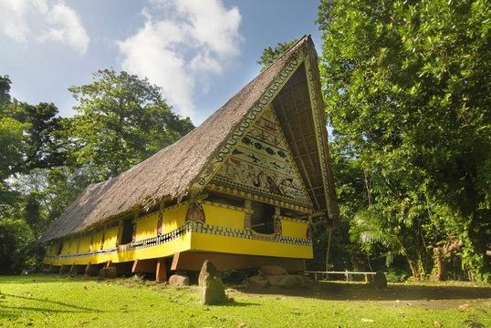 Airai Bai (traditional old meeting house for men) on Palau island, Micronesia