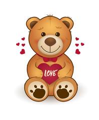 Funny cartoon teddy bear with heart. for greeting card on st. Valentine's day, wedding, birthday