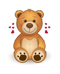 Funny cartoon teddy bear for greeting card on st. Valentine's day, wedding, birthday