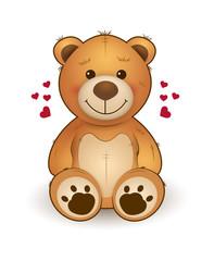 Funny cartoon teddy bear for greeting card on st. Valentine's day, wedding, birthday