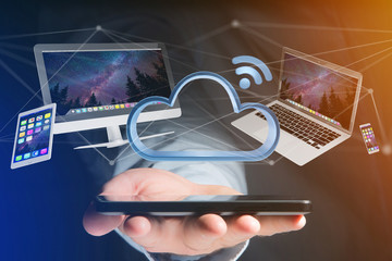 Devices like smartphone, tablet or computer flying over connected cloud - 3d render
