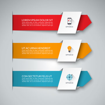 Infographic banner with 3 arrows. Can be used for diagram, graph, chart, business infographics, number options, web design.