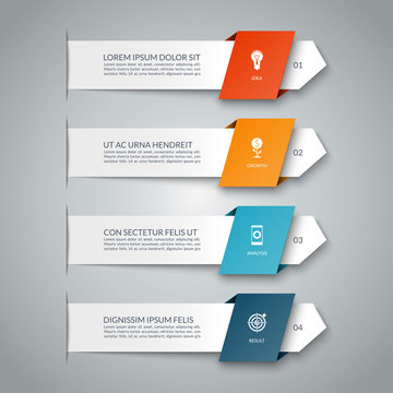 Infographic banner with 4 arrows. Can be used for diagram, graph, chart, business infographics, number options, web design.