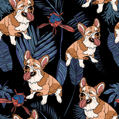 Seamless pattern with dog and leaves.