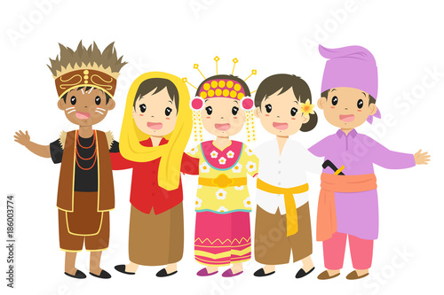 quot;Indonesian children, boys and girls wearing traditional dress cartoon vector. Papua, Jakarta