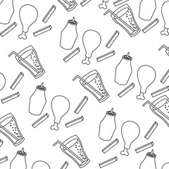 chicken soda sauce fries french fast food seamless pattern vector illustration thin line image