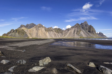 View to the famous Vestrahorn and Stokksnes