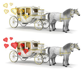 Carriage drawn by two white horses and red and gold hearts. Set of 3d illustration