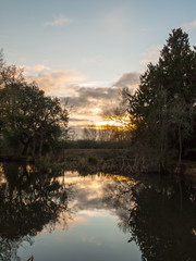 beautiful sun set autumn light sky over river trees reflections water surface