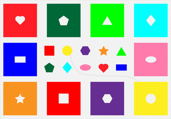 Seguin Form Board test, find objects, different colorful geometric shapes, fun education game for kids, visual task for the development of logical thinking, preschool activity for children, vector