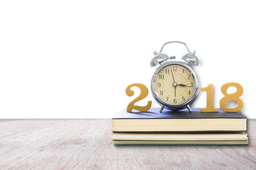 2018 Happy New Year with clock , book on wood isolated white background,Copy space for your text.