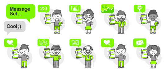 Simple flat stylistics adaptation to corporate style. Set message icons of a human showing a mobile phone and a message