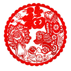 red flat paper-cut on white as a symbol of Chinese New Year of the Dog 2018 the Chinese means fortune and family THIS IS A PHOTO