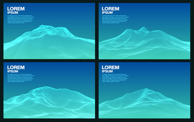 Wall Murals Green coral Set of 3d blue mountain wireframe line, vector background and space for text