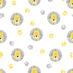 Seamless cute cartoon lion pattern. Vector illustration