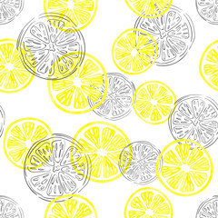 Seamless lemon pattern. Vector background with watercolor and doodle lemon slices.